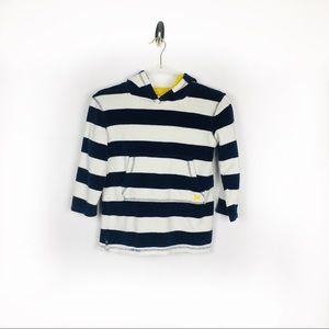 Mini Boden Kids Stripe Throw on Towel Hoodie 6/7